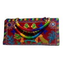 Handmade Excellent Red Genuine Clutch  with embroidery work  by Women Self Help Groups of Rajasthan