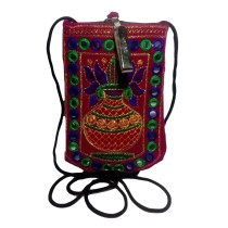 Handmade Excellent Red Genuine Coin Pouch with embroidery work  by Women Self Help Groups of Rajasthan