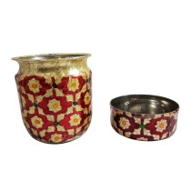 Handcrafted Stainless Steel Meenakari Art (MA) Set of 1 lota & 1 small bowl By Rural Awarded Artisans.