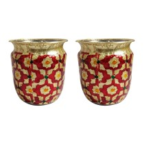 Handcrafted Stainless Steel Meenakari Art (MA)set of 2 small Lotas By Rural Awarded Artisans.