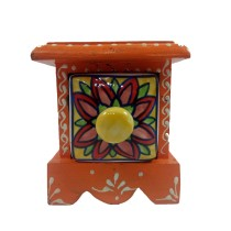 Handmade Ceramic and Wooden Small Chest of 1 Decorated Drawers Jewellery By Rural Artisan.