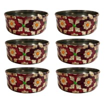 Handcrafted Stainless Steel Meenakari Art (MA) set of 6 Bowl By Rural Awarded Artisans.