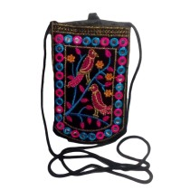 Handmade Excellent Black Genuine Coin Pouch with embroidery work  by Women Self Help Groups of Rajasthan