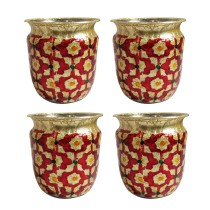 Handcrafted Stainless Steel Meenakari Art (MA) set of 4 small Lotas By Rural Awarded Artisans.
