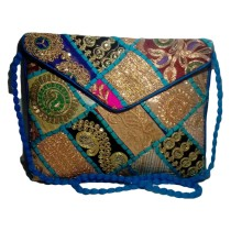 Handmade Excellent Blue Genuine Sling Bag with embroidery work  by Women Self Help Groups of Rajasthan