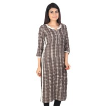 Grey block printed khadi cotton long kurti by weavers of Bihar