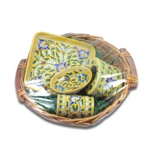 Diwali Gift Hamper-Authentic Blue Art Pottery Bathroom Set by Awarded Artisans