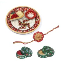 India Meets India Bamboo Rakhi, Marble Thali and 2 Boxes Combo | Raksha Bandhan Festival | Made by Awarded Indian Rural Artisan