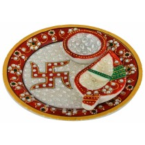 Exclusive Red Decorative Marble Puja Thali by Artisan from Rajasthan