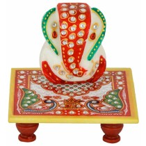 Handmade Red Decorative Ganesha with Aasan by Artisan from Rajasthan
