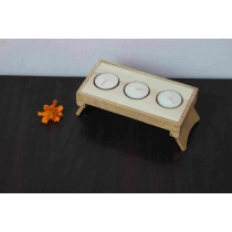 Three Tee-Light Table Holder With Tee Lights by Rural artisans