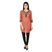 Brown khadi cotton short kurti by weavers of Bihar