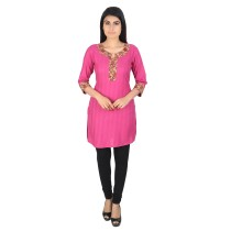 Pink khadi cotton short kurti by weavers of Bihar