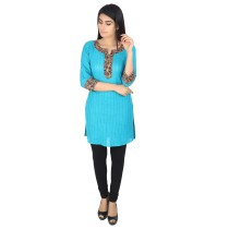 Blue khadi cotton short kurti by weavers of Bihar