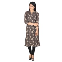 Black block printed khadi cotton long kurti