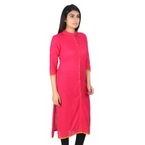 Pink khadi cotton plain long kurti by weavers of Bihar