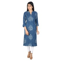 Indigo block printed khadi cotton long kurti by weavers of Bihar