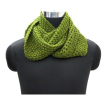 Trendy Olive Green Hand Knit Woollen Neck Warmer