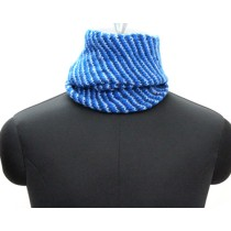 Stylish Blue Stripes Hand Knit Woollen Neck Warmer