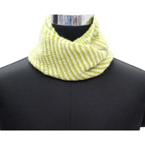 Lemon Green Stripes Hand Knit Woollen Neck Warmer