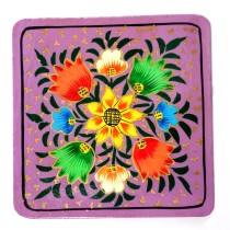 Handmade exclusive paper mache multicolor Coaster with Box  By Rural Artisan.
