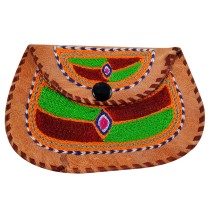 Stylish Designer Leather Embroidered Clutch Bag by Artisans from Rajasthan