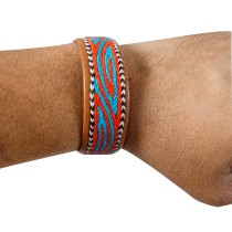 Stylish Designer Leather Embroidered Bracelets by Artisans from Rajasthan