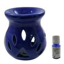 Handmade Ceramic Blue Ethnic Tealight Candle Aroma Diffuser Oil Burner with Lavender Fragrance Oil | White Color Tealight Candle Aromatherapy Incense Oil Warmer Qty 1