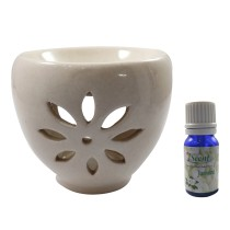 Handmade Ceramic White Ethnic Tealight Candle Aroma Diffuser Oil Burner with Lavender Fragrance Oil | White Color Tealight Candle Aromatherapy Incense Oil Warmer Qty 1