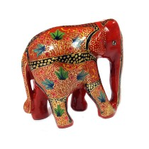 Handmade exclusive paper mache Red Elephant By Rural Artisan.