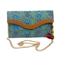 Handmade Excellent Sky Blue Genuine Clutch With Detachable Chain by Women Self Help Groups of Rajasthan