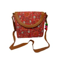 Handmade Excellent Red Genuine Clutch or Shoulder Bag by Women Self Help Groups of Rajasthan