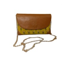 Handmade Excellent Yellow Genuine Clutch With Detachable Chain by Women Self Help Groups of Rajasthan