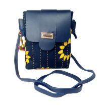 Handmade Excellent Dark Blue Genuine Shoulder Bag by Women Self Help Groups of Rajasthan
