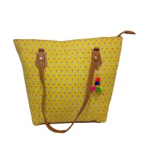 Handmade Excellent Yellow Genuine Shoulder Bag by Women Self Help Groups of Rajasthan