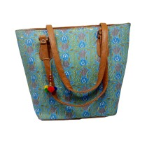Handmade Excellent Green Genuine Shoulder Bag by Women Self Help Groups of Rajasthan