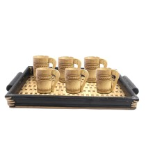 Handmade Natural Bamboo Serving Tray + Mini Vodka Shot Glass by Artisans from North East India