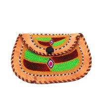 Ethnic Leather Embroidery Stylish Green Clutche by Artisans from Rajasthan