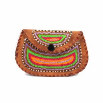 Ethnic Leather Embroidery Stylish Small Clutche by Artisans from Rajasthan