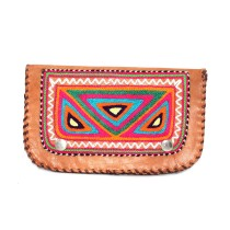 Ethnic Leather Embroidery Stylish Pink Clutche by Artisans from Rajasthan