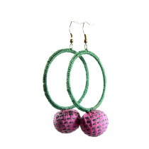 Dark Green Big Round Thread Work Earrings   by Disadvantaged Youth & Women in Rural Faridabad