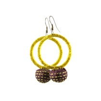 Yellow Small Round Thread Work Earrings  by Disadvantaged Youth & Women in Rural Faridabad