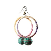 Multicolor Big Round Thread Work Earrings  by Disadvantaged Youth & Women in Rural Faridabad
