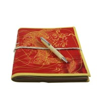 Red Dragon Hand Embroidered Cloth Diary by Rural Migrant People