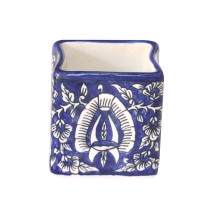 Exclusive Handmade Khurja Pottery Blue Pen Holder by Awarded Artisans