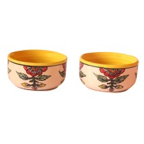 Exclusive Handmade Khurja Pottery Set of 2 Yellow Bowls by Awarded Artisans