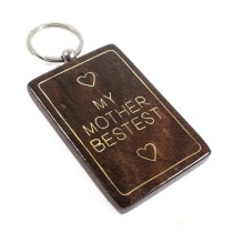 Handmade Wooden Key Chain with Metal Inlay For Gifting by Rajasthani Artisan