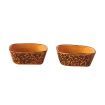 Exclusive Handmade Khurja Pottery Set of 2 Brown Bowls by Awarded Artisans