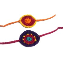 India Meets India Crochet Rakhi Pack of 2 | Handmade | Indian Traditional Raksha Bandhan Festival | Made by Awarded Indian Rural Artisan