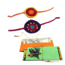 India Meets India Crochet 2 Rakhi and 2 Envelopes Combo Set | Handmade | Indian Traditional Raksha Bandhan Festival | Made by Awarded Indian Rural Artisan